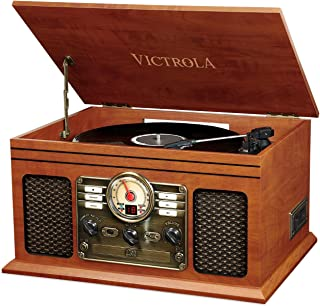 Victrola Classic 6-in-1 Record Player with 3-Speed Turntable, Bluetooth, CD and Cassette Player and FM Radio, Mahogany