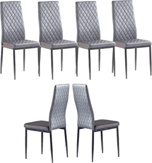 Set of 6 Leather Dining Chairs Set, with Upholstered...