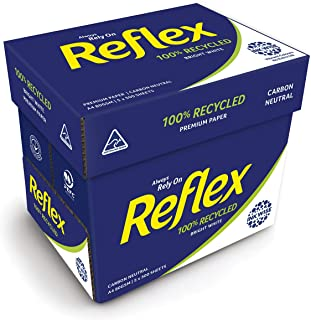 Reflex Australian Made Ink Wise Reflex 100% Recycled Office Copy Paper, A4, 500 Sheets, Carton of 5 Packs, White, (103600)