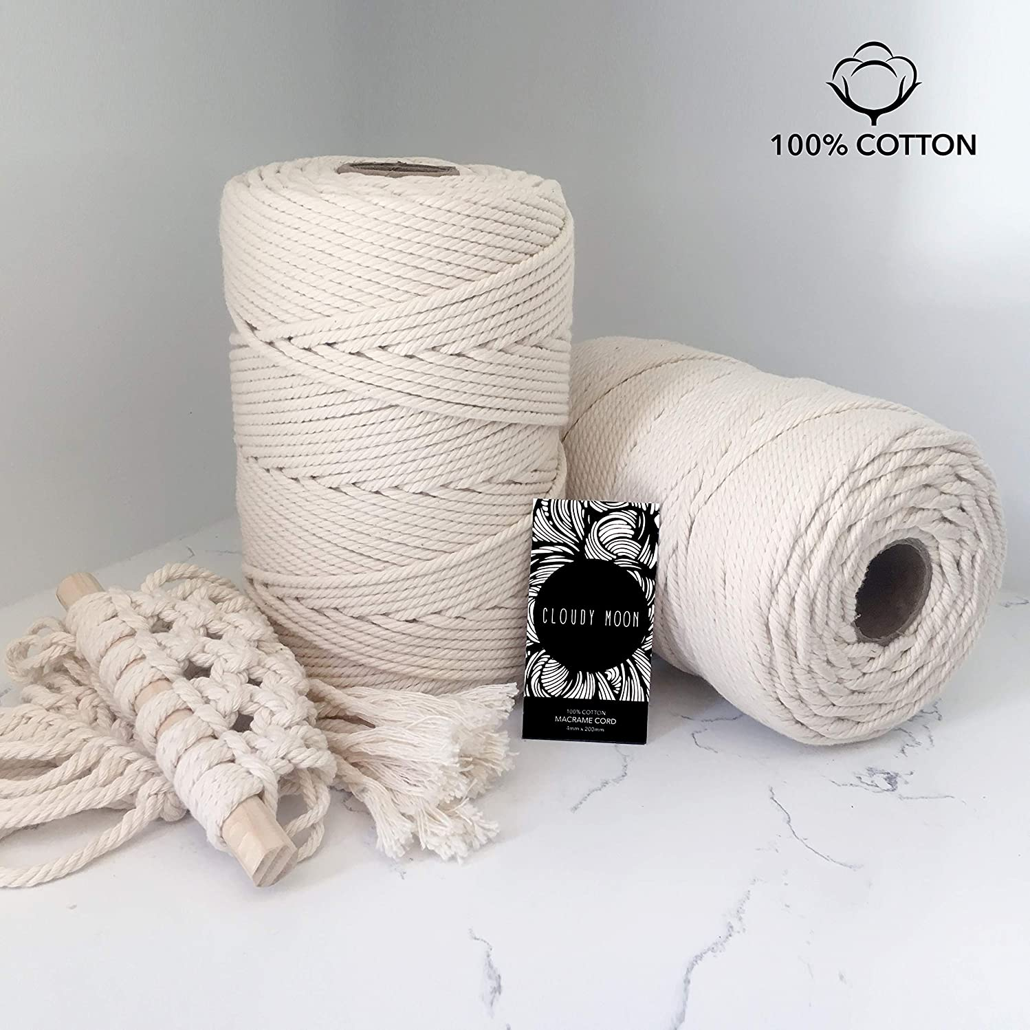 CLOUDY MOON Macramé Cord | 4mm x 100m/109yd 100% Natural UNDYED Cotton. 4 Strand Twisted Rope Perfect for Handmade Wall Hanging, Plant Hangers, Table Runners and More Crafts