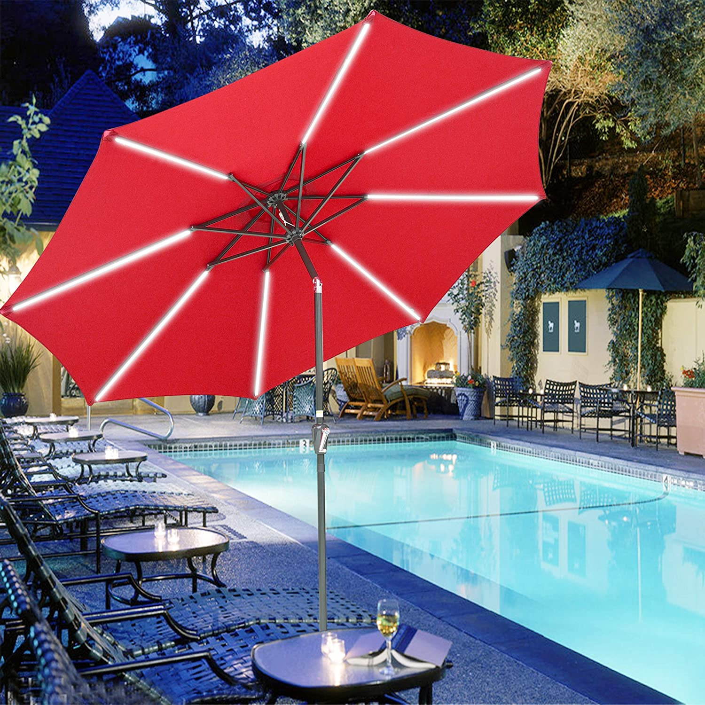 Yescom 10Ft Solar Powered LED Light Umbrella with Austin Mall Bar Special sale item Tilt Patio