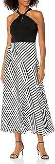 Sandra Darren womens 1 PC Sleeveless Halter Key Hole Maxi Dress Casual Dress