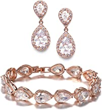 Best rose gold earrings and bracelet set Reviews