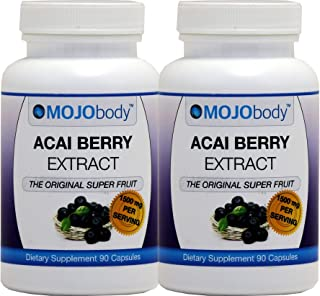 MOJObody Acai Berry Extract, 1500mg 90 Capsules, 2 Bottles Pack,The Original Super Fruit, Boost Energy, Supports Weight Loss, Combats Free Radicals