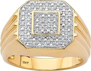 Men's 10K Yellow Gold Diamond Octagon Ring (.09 cttw, HI Color, I3 Clarity)
