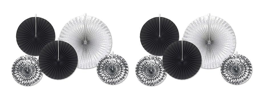 Beistle 53320 10Piece Assorted Paper & Foil Decorative Fans, Assorted Sizes, Black/Silver