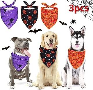 Frienda 3 Pieces Halloween Dog Bandanas Thanksgiving Pet Bandana Pumpkin Pet Scarf Neckerchief Washable Dog Bibs for Dog and Cat, Orange, Purple and Black