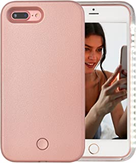 iPhone 7 Plus Case, iPhone 8 Plus Case, AUYOUWEI LED Illuminated Selfie Light Case Cover [Rechargeable] Light Up Luminous Selfie Flashlight Cell Phone Case for iPhone 7 / 8 Plus (Rose Gold)
