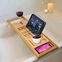 TRIXES Premium Bamboo Bath Caddy – Extendable Luxury Home Relaxation Spa Experience for Bathrooms – Wine Holder – Book Stand Rack Phone Slot – Candles – Side Tray –Compatible with Tablets E-Readers