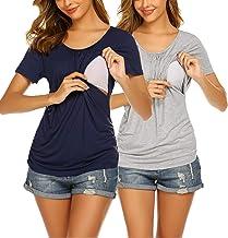UNibelle Damen Stillshirt Kurzarm Schwangerschaft Mutterschaft T-Shirt Stillen Umstandskleidung Umstandsshirt Umstandsmode...