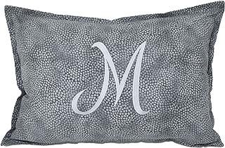 Federa cuscino fantasia grigio con lettere iniziali ricamate, personalizza il tuo cuscino