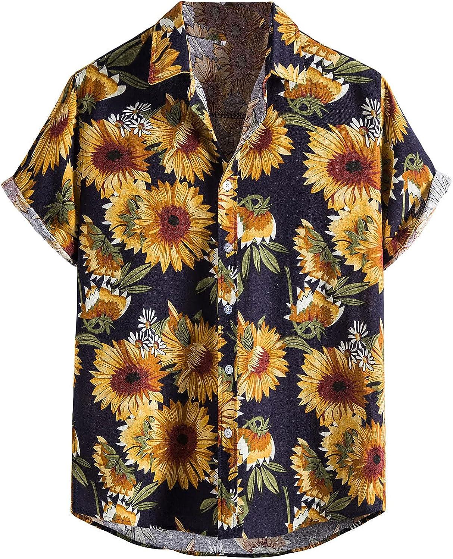 Mens Summer Tropical Shirts Short Sleeve Button Down T Shirts Aloha Hawaiian Shirts Casual Loose Blouse