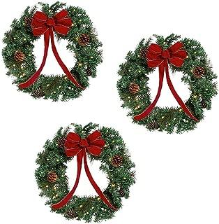 Nantukett home 3 Wreath Set - 22 inch Lighted Christmas Holiday Wreaths