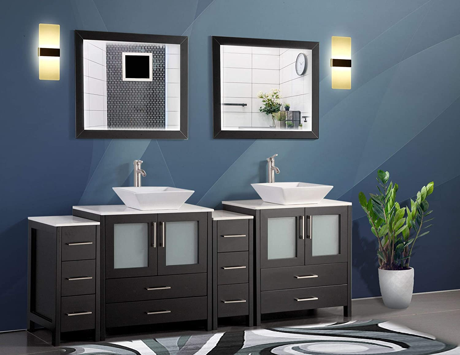 Buy Vanity Art 84 Inch Double Sink Bathroom Vanity Set 2 Shelves 10 Dove Tailed Drawers Quartz Top And Ceramic Vessel Sink Bathroom Cabinet With Free Mirrors Va3130 84 E Online In Turkey B01mto2oue