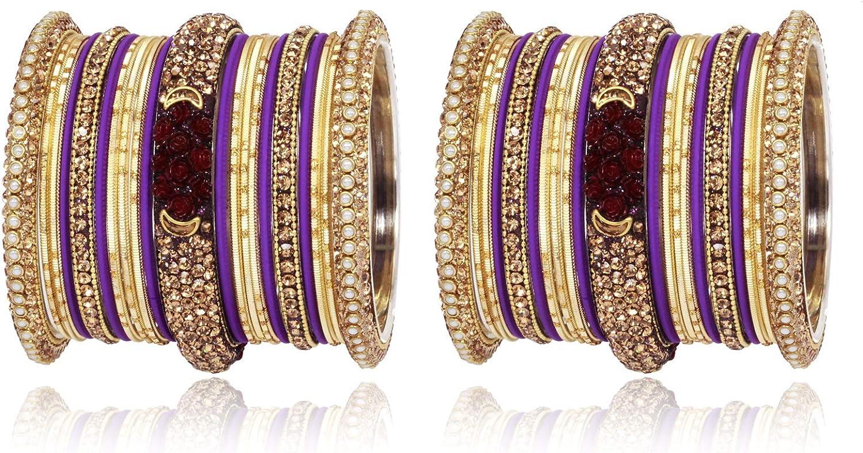 SANARA Glamorous Indian Bollywood Beautiful Collection Matt & Alloy Lac Bangles Kada for Women Wedding Jewerly
