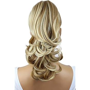 "PRETTYSHOP 14"" Hair Piece Pony Tail Clip On Extension Voluminous Wavy Heat-Resisting Dark blonde mix # 27H613 H94"