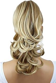 PRETTYSHOP 14 Hair Piece Pony Tail Clip On Extension Voluminous Wavy Heat-Resisting Dark blonde mix # 27H613 H94