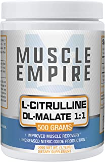 L-Citrulline DL-Malate 1:1 Powder - Nitric Oxide Booster & Muscle Recovery Support - 500 Grams - Muscle Empire