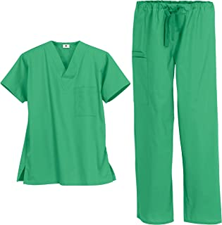 Unisex Classic Scrub Set – Includes Medical Uniform Top and Pant (XS-3X, 14 Colors) | Unisex Styled for Men and Women