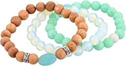 Quartz, Wood and Opalite Beaded Bracelet Set