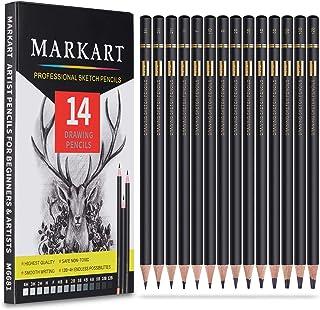 مجموعه مداد طراحی رسم حرفه ای - مداد طراحی 14 قطعه MARKART 12B ، 10B ، 8B ، 6B ، 4B ، 3B ، 2B ، B ، HB ، F ، H ، 2H ، 3H ، 4H مداد سایه گرافیت برای مبتدیان