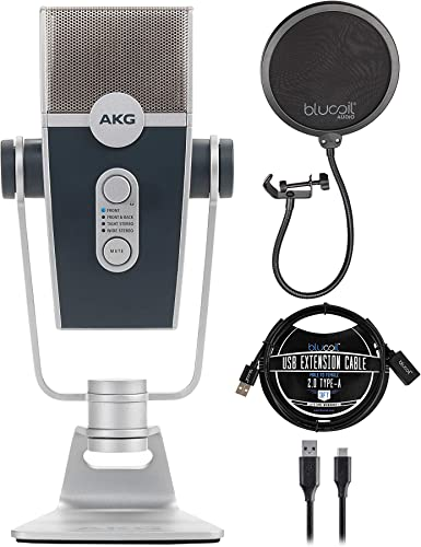 wholesale AKG Pro high quality Audio Lyra Ultra-HD, Four Capsule, Multi-Capture Mode, USB-C Condenser popular Microphone for Recording and Streaming Bundle with Blucoil Pop Filter Windscreen, and 3-FT USB 2.0 Type-A Extension Cable sale