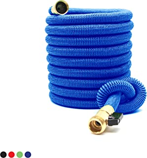 Deke Home Expandable Garden Hose 50Ft Extra Strong Reel. Brass Connectors with Protectors 100% No-Rust & Leak. Best Water Hose for Pocket Use. 100% Flex Expanding 50 ft (Blue)
