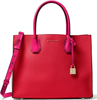MICHAEL Michael Kors Mercer Large Color-Block Leather Tote Bag, Bright Red Soft Pink Ultra Pink