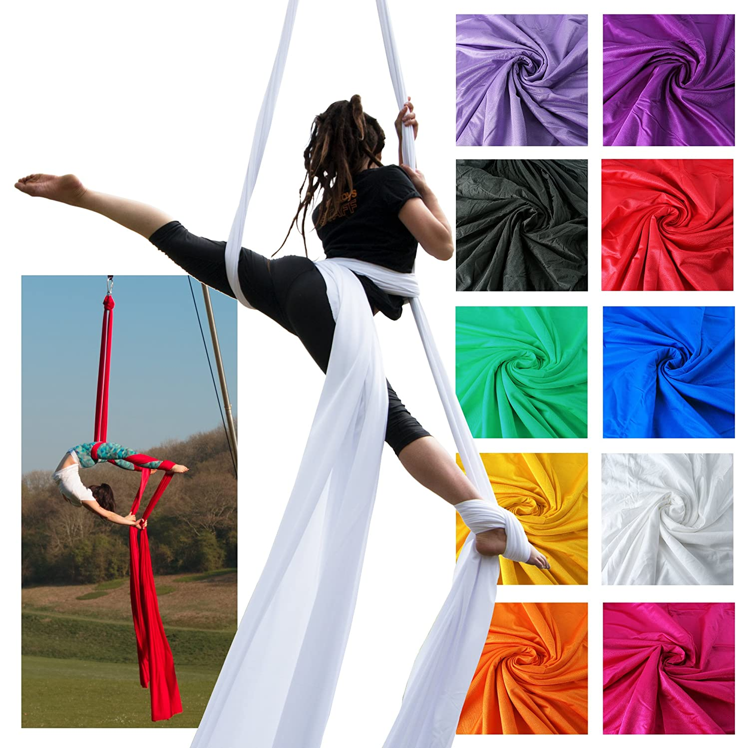 Firetoys Professional Aerial Silks Fabric/Tissues, Medium Stretch Silk WLL 282lbs (128kg) (Black, 52' (16m))