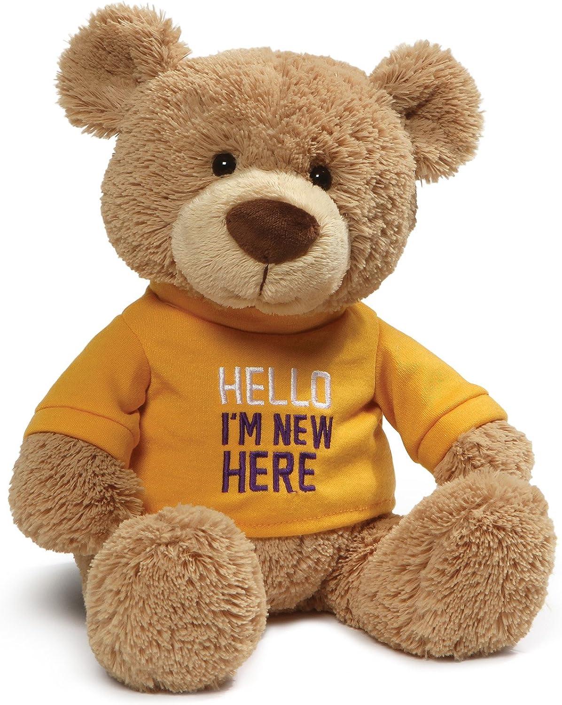 GUND 4059974 Hello TShirt Teddy Bear Plush Stuffed Animal Toy, 12.5 inches