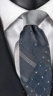Graffeo corbata de hombre Patchwork gris oscuro azul y plata pura ...