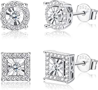 2Pairs 925 Sterling Silver CZ Stud Earrings Set for Women Round Square Hypoallergenic halo Cubic Zirconia Earrings for Wedding Prom
