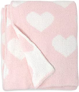 Living Textiles Pink Hearts Chenille Soft Baby Blanket Premium Cozy Fabric for Best Comfort - for Infant,Toddler,Newborn,N...