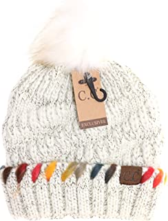 d634364d887 Women s C.C Fuzzy Lined Ombre Thread Accent Pom Beanie (Ivory)