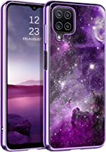 """BENTOBEN Compatible with Samsung Galaxy A12 Case, Slim Fit Glow in The Dark Hybrid Hard PC Soft TPU Bumper Drop Protective Girls Women Men Phone Cover for Samsung A12 6.5"""", Purple Galaxy"""