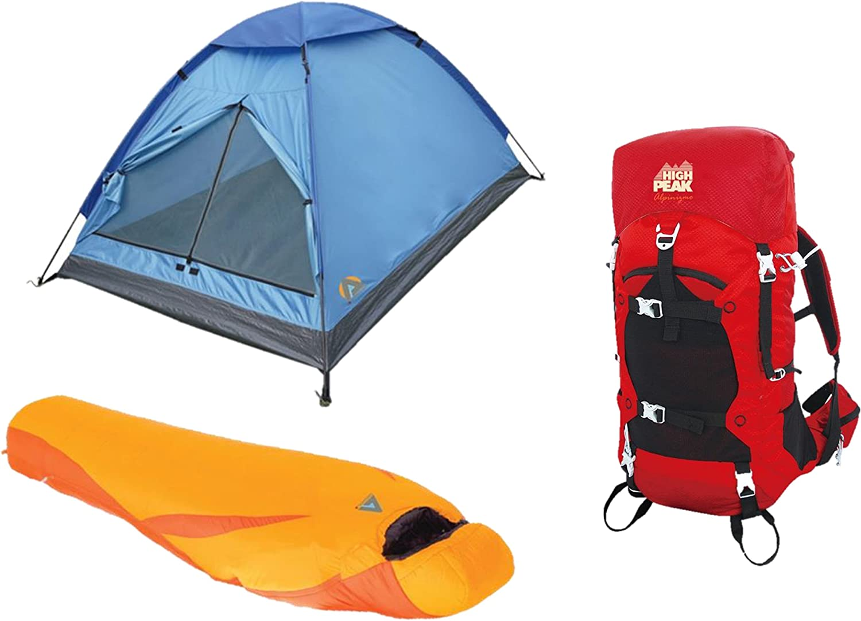 High Peak USA Alpinizmo Latitude 0F Sleeping Bag + Monodome 3 Tent & 40 Liter Pack Combo, Red orange, One Size