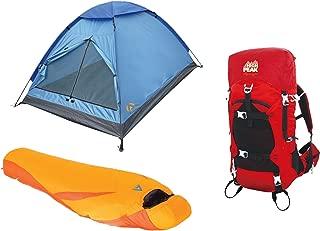High Peak USA Alpinizmo Latitude 0F Sleeping Bag + Monodome 3 Tent & 40 Liter Pack Combo, Red/Orange, One Size