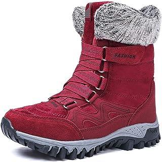 ZHANGZ Bottes De Randonnée d'hiver Bottes De Neige Chaudes Bottines Imperméables pour l'hiver Ski Extérieur,Red-41