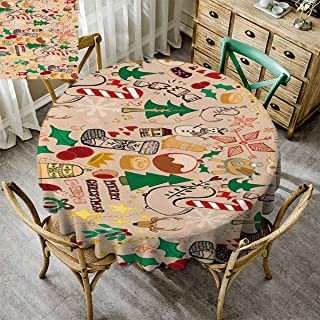 Kmydt Polyester Fabric Table Cloth, Christmas Decoration Round Tablecloths for Circular Table for Dining Kitchen Xmas Christmas Stockings Christmas Tree Balls Candy Cane Holly Colorful - 62