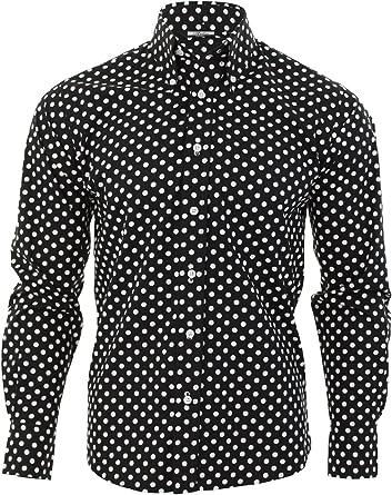 Relco - Camisa de hombre negra a topos blancos diseño vintage