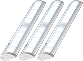 Kuled 10-led Wireless Motion Sensing Stick-on Anywhere Step LED Light Bar with Magnetic Strip, Pure White, 3 Piece