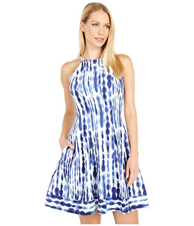 Vince Camuto Printed Crepe Halter Fit-and-Flare with Border Hem (Ivory/Navy) Women