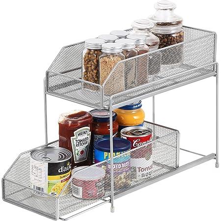 HAITRAL Étagère de cuisine à 2 étages coulissante, tiroir de rangement pour cuisine, placard, plan de travail – Argent