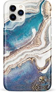 HolaStar Case for iPhone 11 Pro Max, Marble with Gold Galaxy and Blue Ocean Design Soft Silicone Cover