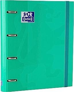 Archivador 4 anillas con recambio y goma Oxford, School, Tapa Extradura A4+ con Recambio 100 Hojas, Cuadrícula 5x5, Color Ice Mint