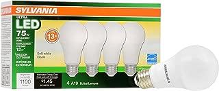 SYLVANIA General Lighting 74425 Sylvania Dimmable Led Light Bulb, 12 W, 120 V, 1100 Lumens, 2700 K, CRI 80, 2.375 in Dia X 4.42 in L, Soft White, 4 Piece