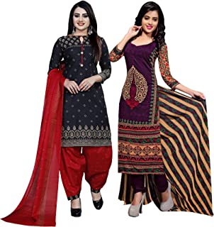 Rajnandini Women's Black And Purple Cotton Printed Unstitched Salwar Suit Material (Combo Of 2) (Free Size)