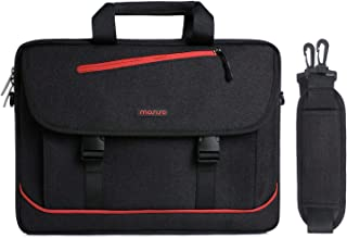 MOSISO Laptop Shoulder Messenger Bag Compatible 13-13.3 Inch MacBook Pro, MacBook Air, Notebook Two Front Quick Release Buckle, Spill-Resistant Polyester Carrying Briefcase Sleeve, Black & Red