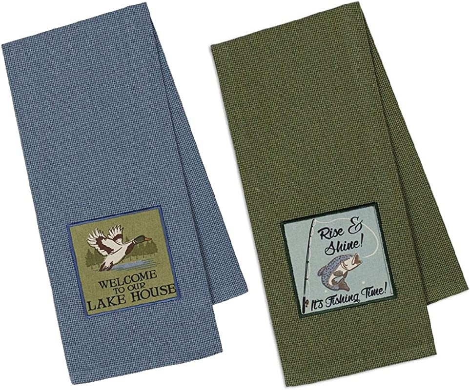 Design Imports DII Dish Towel Set For The Cabin Rise Shine And Welcome To The Lake House Embellished Dishtowels