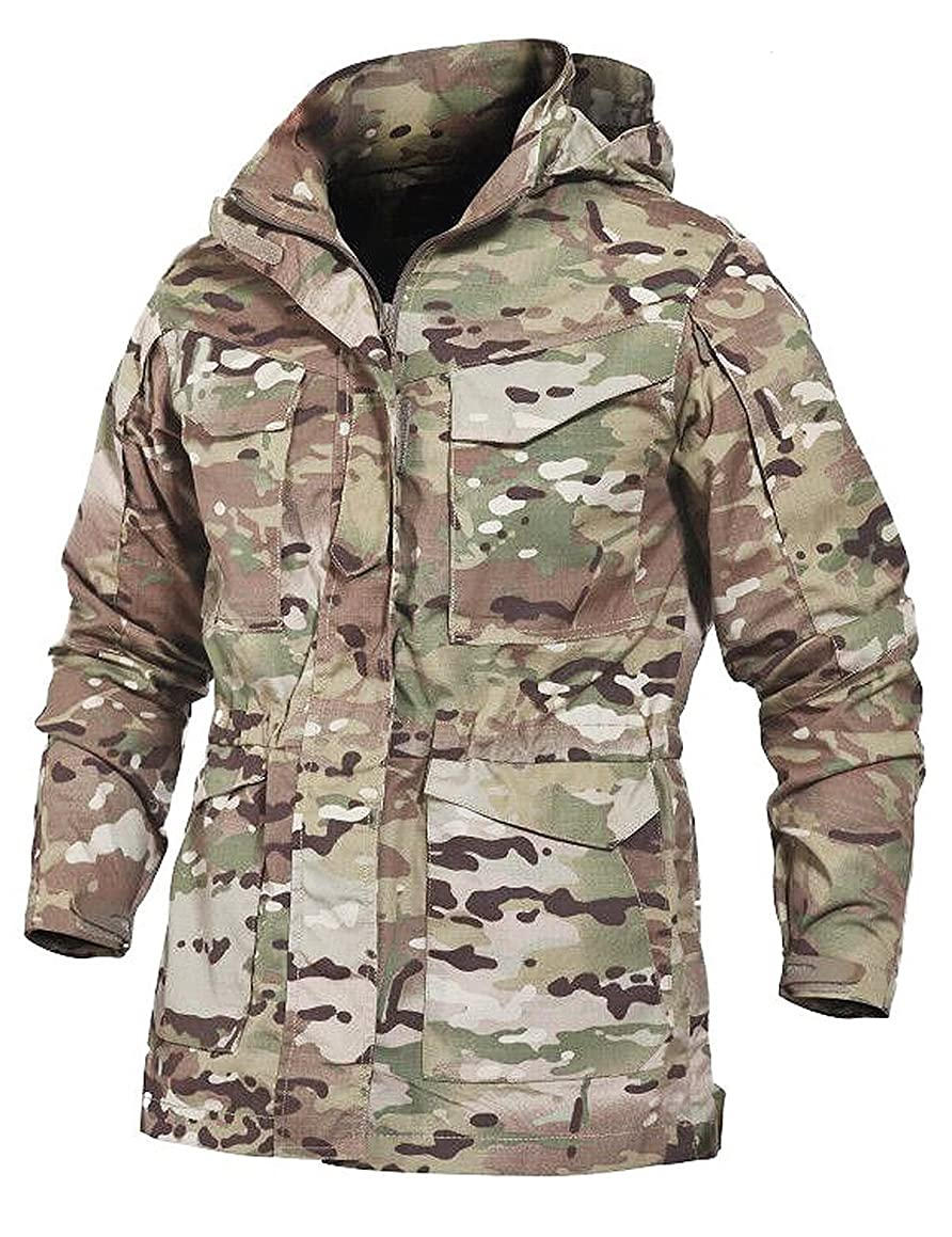 YFNT Men's Tactical Windbreaker Jacket Outdoor Military Trench Coat with Hood